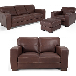Adalfieri Faux Leather Living Room Set- Brown