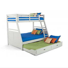 Neo White Double Bunk With Trundle