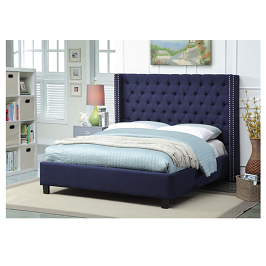Dario ribbed 6 by 6 bed- Blue with mattress